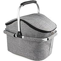 Yonovo - Cesta plegable de 22 l, bolsa de pícnic grande térmica e impermeable para viajar, ir de camping o a barbacoas (con forma de casa y color gris)