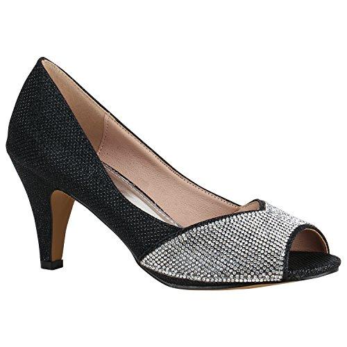 Klassische Damen Schuhe Pumps Lack Stilettos Abendschuhe Brautschuhe 156105 Schwarz Glitzer 38 Flandell