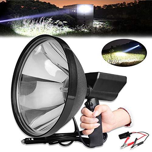Linterna LED de alta potencia de 8000 lm, 9 pulgadas, foco de mano para caza, pesca, acampada, haz de luz de 1500 m de distancia + pinzas de conversión de batería