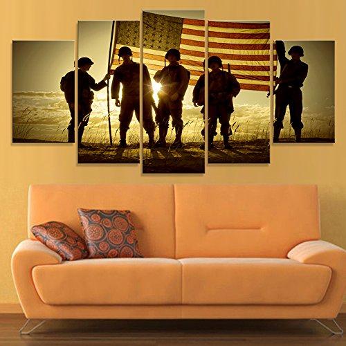 D Modernes Wohnzimmer Fotos 5 Panel Amerikanische Flagge Soldaten Malerei Wand Kunst Modular Home Decor Gedruckt Leinwand Poster, Groß ()
