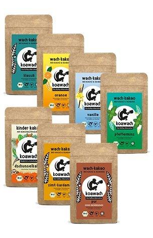 koawach Probierset (7x100g): Kakao mit Koffein aus Guarana - Bio, vegan und fair gehandelt (Kakao Freunden)