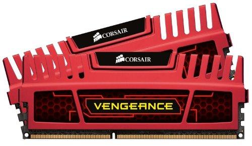 Corsair CMZ8GX3M2A1600C9R Vengeance Memoria per Desktop, 8 GB (2x4 GB), DDR3, 240-pin DIMM, PC3-12800, 1600 MHz, CL9, con Supporto XMP, Rosso