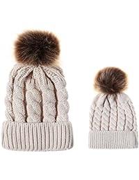 Boomly Invernale Caldo Genitore-Figlio Berretto in Lavorato a Maglia con  Pompon Cappellino da Sci Snowboard Beanie Hat per Mamma e… f06d558a414f