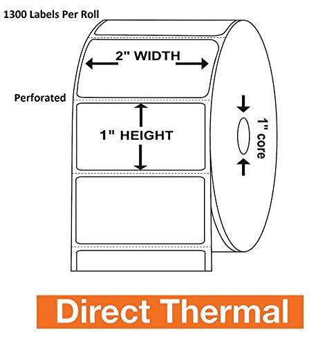 Besteck 5,1x 2,5cm Thermodirekt Zebra/Eltron kompatibel Etiketten-PREMIUM Auflösung & selbstklebend/1300Etiketten pro Rolle perforiert 4 Rolls (2x1 Drucker Zebra Etiketten)