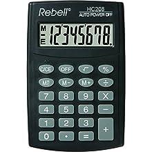 REBELL Calculatrice hc208 de re plus simple, affichage 8 chiffres écran LCD et triple fonction mémoire, Noir