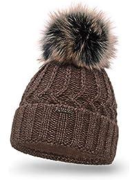 PaMaMi 18544 Bonnet d hiver en Tricot Chaud avec Pompon pour Femme Bonnet à  Pompon 24b0af803b9