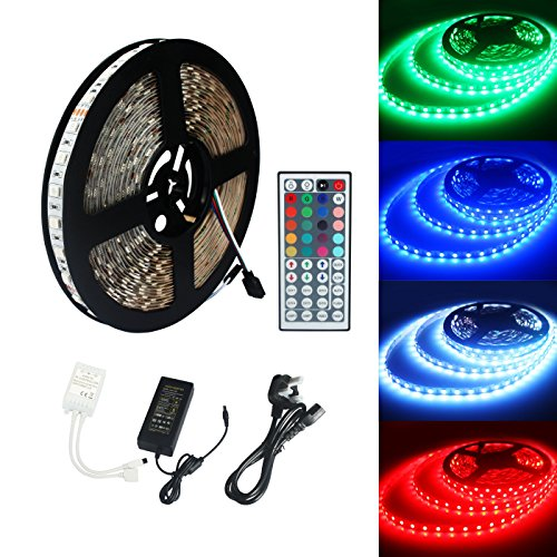 Eco-Lux ECOLUX® 10M 5050 RGB 600Led Color Changing Led Strips with 44 key IR Remote 24V 6A AC UK Plug Adapter Power Supply for Home lighting and Kitchen Decorative