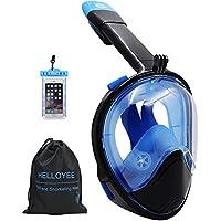 HELLOYEE Schnorchel Maske Kompatibel mit GoPro Kamera 180° Panorama-Sicht Geeignet für Erwachsene und Jugendliche, Tauchermaske Antibeschlag und Leckdichtes Design Mit Wasserdichter Handytasche