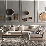 Zikra Benitez Solid Wood Fabric L Shape Sofa Set (Off White)