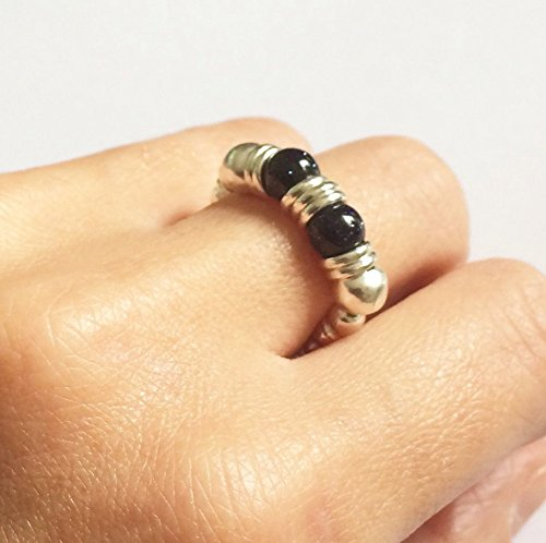 karma-gems-gemstone-blue-sandstone-silver-bead-stretch-thumb-ring-size-7-n-other-sizes-avail