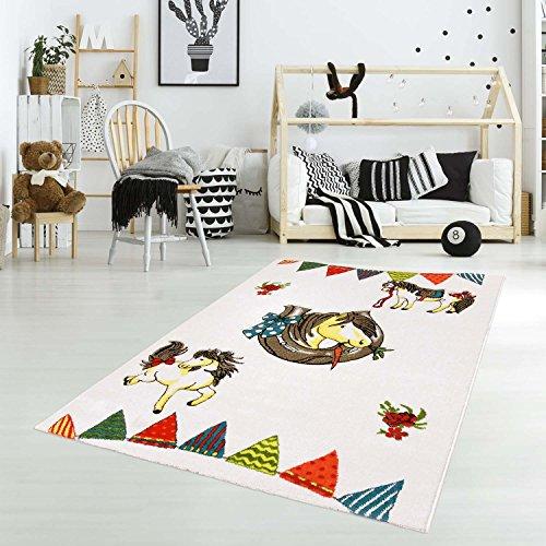 carpet city Kinderteppich Spielteppich Flachflor Junior mit Pferd/Hufeisen-Motiv in Creme/Multi für Kinderzimmer: Größe 133x190 cm