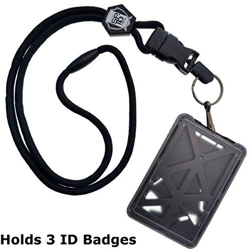 Id 3 (Top Loading Drei ID Card Badge Holder mit Heavy Duty Lanyard W/Abnehmbare Metall Clip und Schlüssel Ring Durch Specialist ID, verkauft einzeln (One Halterung/3Karten Innen) schwarz)