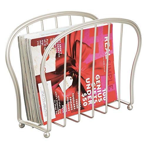 mDesign Zeitungsständer zum Aufstellen – eleganter Zeitschriftensammler aus Metall (BHT: 35,5 x 28 x 15 cm) für Badezimmer oder Büro – Zeitungshalter für Tablet, Zeitungen etc. – mattsilber