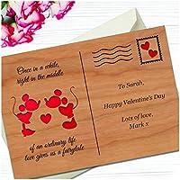 Valentines Day Gifts For Couples - Personalised DISNEY Mickey & Minnie Postcard - PERSONALISED Valentines Day Gifts for Him or Her, Husband, Wife, Boyfriend, Girlfriend - 4mm Cherry Veneer Engraved Postcard Keepsake Gift