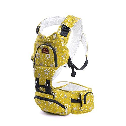 ZYT Multifunktionale atmungsaktiver reiner Baumwolle Baby Sling Taille Hocker die vier Jahreszeiten mit einer Mumie-Tasche Yellow