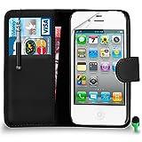 SHUKAN POUR Apple iPhone 4/4S Prime Cuir NOIR Portefeuille Cas Coque Couverture avec...