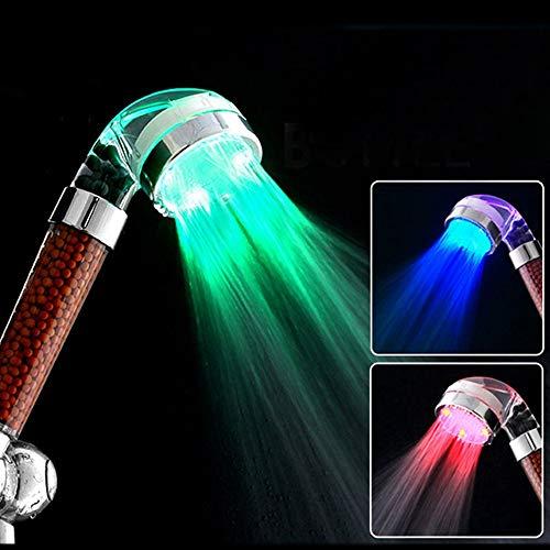 Sxuefang Soffione Doccia LED Anioni Doccia Spa Shower Head Pressurized Water-Risparmio di Controllo della Temperatura Colorato Palmare Grande Doccia A Pioggia
