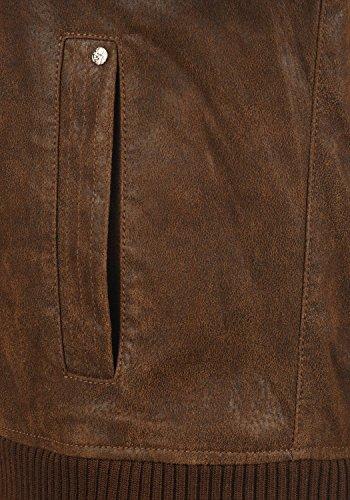 SOLID Ash Herren Lederjacke Echtleder Bikerjacke mit abnehmbarer Sweatkapuze aus 100% Leder Cognac (5048)
