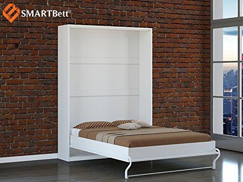 Schrankbett SMARTBett Klappbett Gästebett 140cm, vertikal Weiss/Hochglanzfront mit Matratze - 2