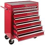 Arebos Werkstattwagen 7 Fächer/zentral abschließbar/Anti-Rutschbeschichtung/Räder mit Festellbremse/Massives Metall/rot,