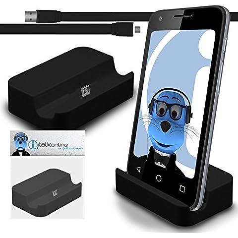 iTALKonline BlackBerry Classic Q20 2015 Nero Micro USB Sync & Charge / ricarica Desktop Dock stand di ricarica con 1,2 metro USB di alta qualità FLAT a Micro USB di Sincronizzazione e Ricarica