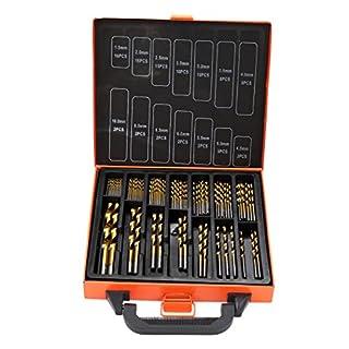 Metallbohrer Set 99-teilig Metallbohrersortiment HSS geschliffen, Split Point Handbohrmaschine Profi-Steinbohrersatz Bohrer Set Spiralbohrer Bohrersets (99 PCS)
