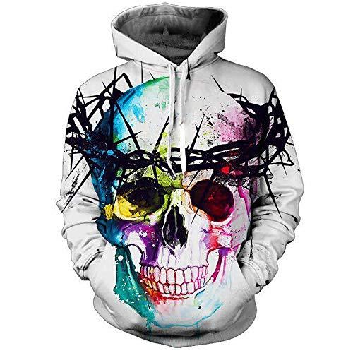 WESEASON Skull 3D Prints Peak Pullover Mens Hoodie Sweatshirt Jumper Jacket with Adjustable Hood and Front Pockets Team Club Couple Hoodies Unisex,XL (Hoodie Ralph Lauren Rugby)