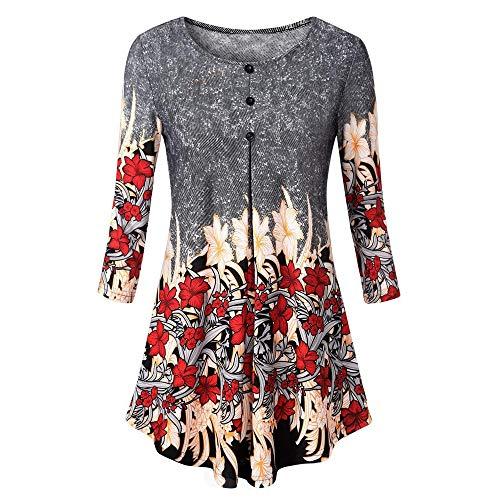 VEMOW Sommer Herbst Elegant Damen Oberteil Langarm O Neck Printed Flared Floral Beiläufig Täglich Geschäft Trainieren Tops Tunika T-Shirt Bluse Pulli(X2-Schwarz, EU-44/CN-XL)