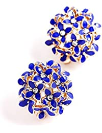 Crunchy Fashion Jewellery Gold Plated Blue Floral Stud Earrings For Women & Girls