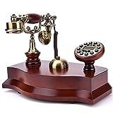 Power uk Teléfono de madera maciza Imitación Teléfono antiguo Teléfono retro europeo Teléfono fijo de línea fija estadounidense