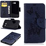 J3 2017 Case,Samsung J3 2017 Case,Galaxy J3 2017 Case,Samsung Galaxy J3 2017 Case,For Samsung Galaxy J3 2017 Cover [Dark Blue Butterfly],Cozy Hut Magnetic Flip Book Style Cover Case For Samsung Galaxy J3 2017 ,High Quality Vintage Genuine Scrub Printed PU Leather Magnetic Flip Protection Case Cover Wallet Pouch With [Lanyard Strap] and [Credit Card Slots] Stand Function Folio Protective Holder Perfect Fit For Samsung Galaxy J3 2017 - Dark blue butterfly