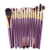 Angelof 15pcs Professionnel Maquillage Kit Pinceaux pour Fondation Fard A Paupieres Eyeliner Lip Maquillage Brushes Brosse Set (Violet#1)