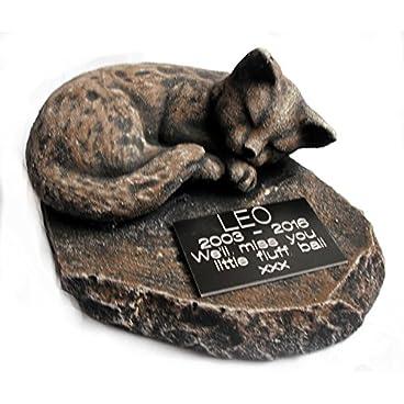 Larger Sleeping CAT MEMORIAL. PERSONALISED. Pet Loss. Cat Loss. Cat Memorial. Beloved pet. Pet Gravestone. Bereavement (Brown/ginger)