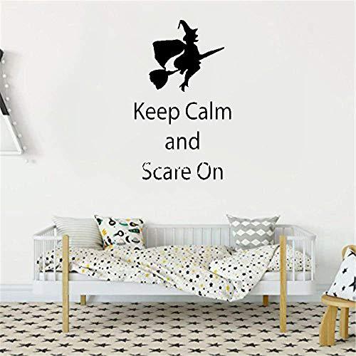 wandaufkleber 3d Wandtattoo Schlafzimmer Halloween-Hexe auf Besen-Zitat behalten Ruhe und erschrecken auf Wand-Spielzimmer-Kinderzimmer (Erschrecken Halloween Katze)