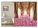Amody 3D-Digitaldruck Blume Straße Wald Duschvorhang Bad Vorhang Durable Wasserdicht Bad Vorhang Rosa Größe90X180
