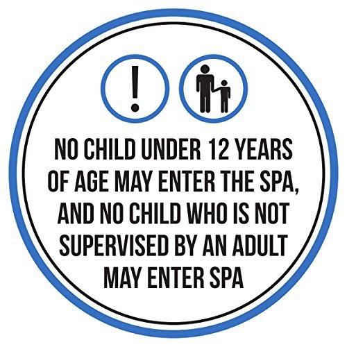 Maureen52Dorothy keine Kinder Unter 12Jahre Können die gewünschte Spa Pool Warnschilder Sticker Funny gewerblichen Safety Signs Aufkleber Rund Vinyl Schild Aufkleber 22,9x 22,9cm