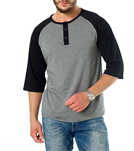 AIYINO Mens Casual Regular Fit Raglan Baseball 3/4 Sleeve Henley T-Shirts in 5 Colors