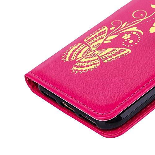 Aeeque® iPhone 7 4.7 pouces Blanc Etui, Luxe Fille et Fleur Motif Dessin Housse Case en Cuir pour les iPhone 7 (2016) avec Support/ Pochette/ Magnétique Fonction Papillion Rose vif