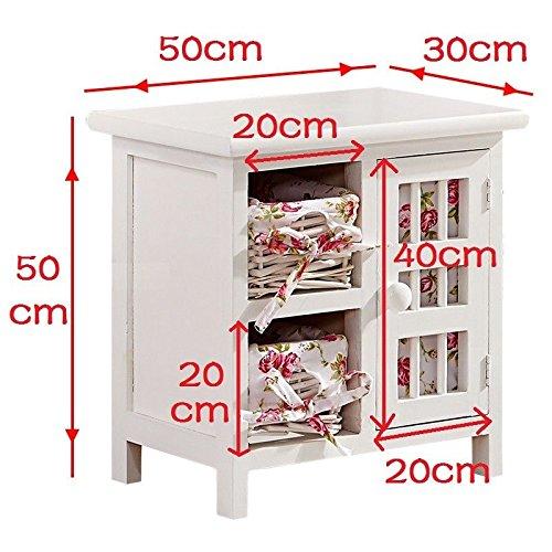 Weiß Shabby Chic Weidenkorb Schrank Kommode Aufbewahrung Schlafzimmer Badezimmer Möbel 2Körbe 1Tür