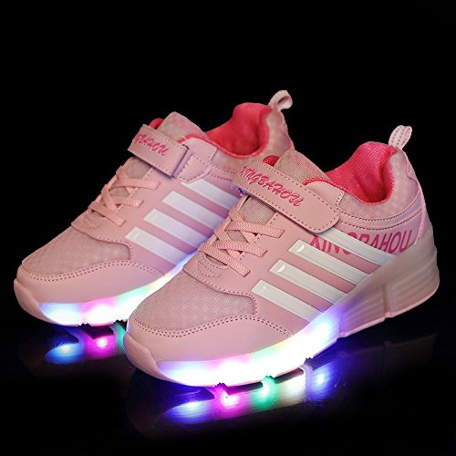 KISCHERS Kinder Junge Mädchen Led Schuhe Mit Rollen Skateboard Rollschuhe Sneaker Pink