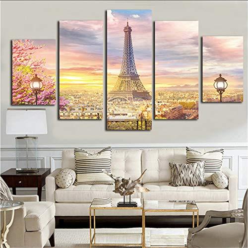 ljtao Malerei Auf Leinwand Poster Dekoration Rahmen Moderne 5 Panel Turm Landschaft Wohnzimmer Wandkunst Hd Gedruckt Bilder-30Cmx40/60/80Cm-Frame