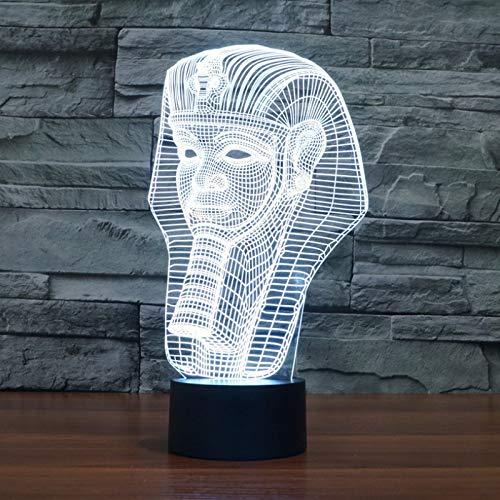 3D Nachtlicht Lampe Ägyptischer Pharao Geschenke mit Fernbedienung oder Touch Nachttischlampe 7 Farben ändern Switch Lampen für Kinder Geburtstagsgeschenk Beste Mädchen Baby LED Stimmungslicht