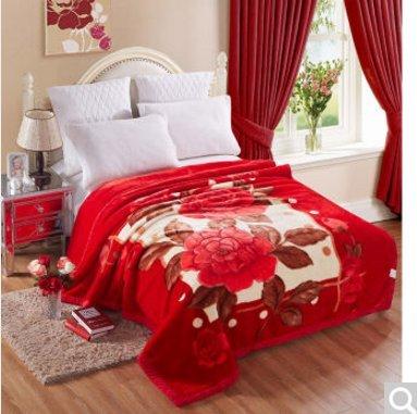 BDUK Romantische Serie Raschel Decke Hochzeit rot Winter mit einer doppelten Schicht von Dicken und im Herbst und Winter warme Decken, B) 3 kg Gewicht, 200*230cm