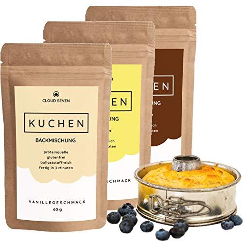 Low-carb-brownies (Protein-Kuchen-Backmischung I Eiweiß-Snack I Weniger Zucker I Lower-Carb I Glutenfrei I Eiweißkuchen 3er - CLOUD SEVEN)