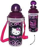 """große _ Trinkflasche / Sportflasche - auslaufsicher - """" Katze - Hello Kitty """" - Flasche 650 ml - leicht transparent - aus Kunststoff - Fahrradflasche / Trinklernflasche zum Umhängen zum umhängen - für Kinder - Mädchen Haustier - Kätzchen lila - Plastik - Aluflasche 0,65 Liter / Wasserflasche - Plastikflasche - Kunststoffflasche"""
