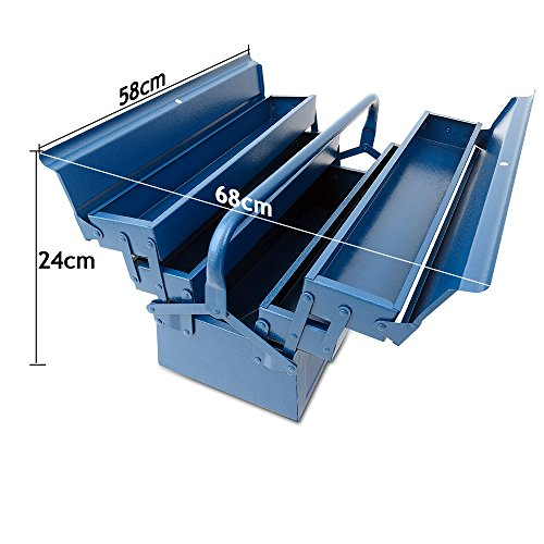 Werkzeugkoffer leer groß ✔ Stahl ✔ 5-teilig ✔ Deuba® - Werkzeugkasten Werkzeugbox Werkzeugkiste Werkzeug Montage Koffer - blau - 580x220x210mm - 8