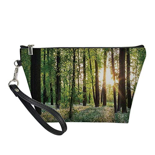 Farm House Decor Useful Cosmetic Bag,Sunny Forest with Wild Garlic Enchanting Wildflowers Blossoms Landscape Scene for Travel ,21.5×14.5×6.5IN -