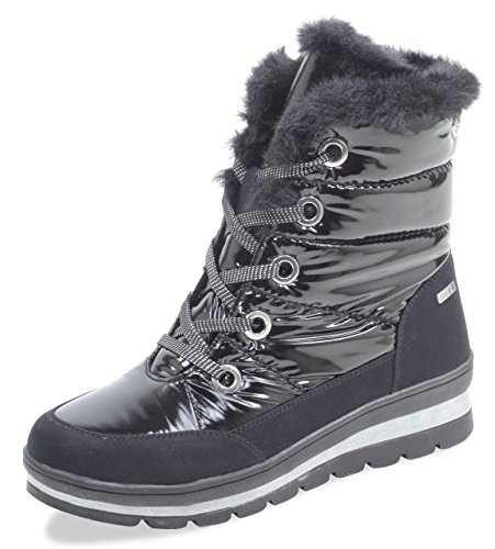 CAPRICE Damen Winterstiefel 26221-21,Frauen Winter-Boots,Fellboots,Fellstiefel,gefüttert,warm,Tex Decksohle,4cm,Black Comb,UK 7