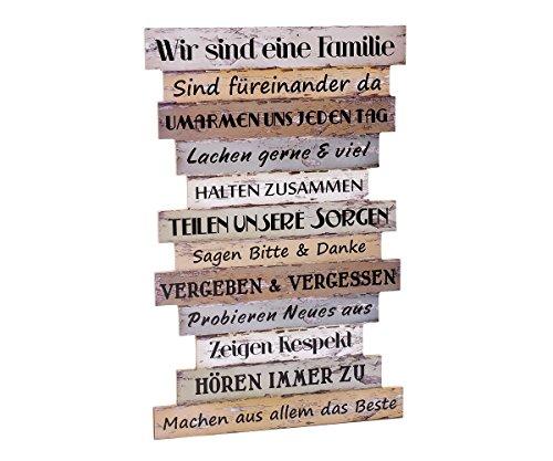 Wandbild Familie Wanddekoration Holz Dekoschild Sprüche Dekoration Wand Schild Familienregeln Shabby Vintage Holzbild Spruch Home Regeln Geschenk Brillibrum Flyer