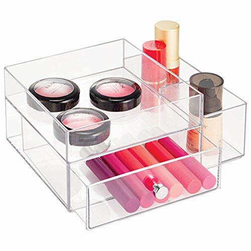 InterDesign Drawers Sortierbox | stapelbarer Schubladen Organizer mit Seitenfächern für Make-Up & Accessoires | Schubladenbox auch für Büro- und Nähzubehör | Kunststoff transparent (Make-up Aufbewahrung Mit Schubladen)